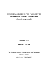 ECOLOGICAL STUDIES ON THE PRODUCTIVITY AND FRUIT QUALITY OF