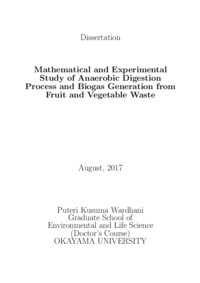 Dissertation Mathematical and Experimental Study of Anaerobic